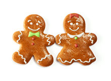 Christmas gingerbread couple cookies Royalty Free Stock Photos