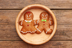 Christmas gingerbread couple Stock Images