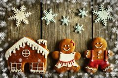 Christmas gingerbread couple and house cookies Stock Image