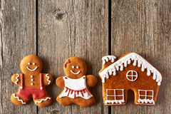 Christmas gingerbread couple and house cookies Royalty Free Stock Photo
