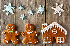 Christmas gingerbread couple and house cookies Royalty Free Stock Photography