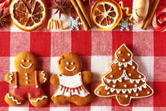 Christmas gingerbread couple and tree cookies Royalty Free Stock Image
