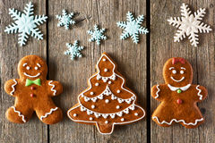 Christmas gingerbread couple and tree cookies Stock Photography