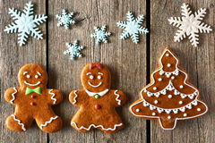 Christmas gingerbread couple and tree cookies Royalty Free Stock Photo