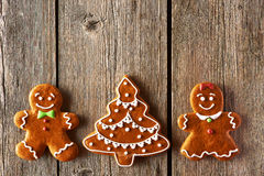Christmas gingerbread couple and tree cookies Stock Photo