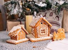 Christmas gingerbread decorated Christmas tree garland bokeh stock image
