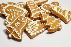 Christmas gingerbread. The christmas decoration gingerbread  on hell background Stock Photo