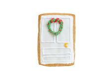 Christmas gingerbread door with a wreath isolated. On white background Stock Photo