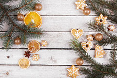 Christmas gingerbread and dried oranges Royalty Free Stock Photos