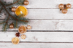 Christmas gingerbread and dried oranges Stock Images