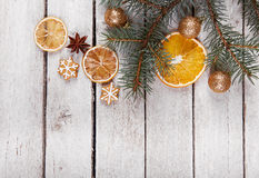 Christmas gingerbread and dried oranges Stock Photography