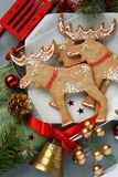 Christmas gingerbread elk-shaped cookies with decoration Royalty Free Stock Photos
