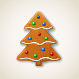 Christmas gingerbread fir-tree. Decorated colored icing Royalty Free Stock Photos