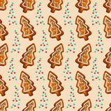 Gingerbread fir tree with glaze drops seamless pattern vector illustration