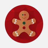 Christmas gingerbread flat icon with long shadow.  Stock Image