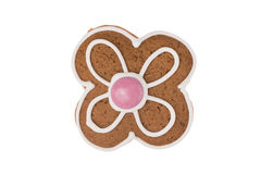 Christmas gingerbread flower isolated on a white background. Traditional Polish, handmade Christmas gingerbread isolated on a white background Royalty Free Stock Photography