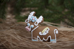 Christmas gingerbread in the form of a cow   . Royalty Free Stock Photo