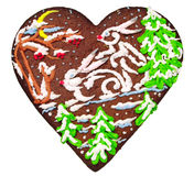 Christmas gingerbread in the form of heart Royalty Free Stock Images