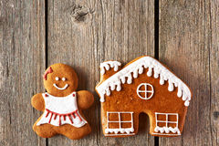 Christmas gingerbread girl and house cookies Stock Image