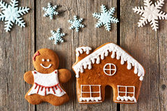 Christmas gingerbread girl and house cookies Stock Images