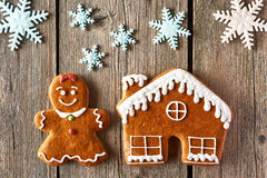 Christmas gingerbread girl and house cookies Stock Photography