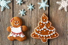 Christmas gingerbread girl and tree cookies Stock Images