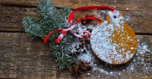 Christmas gingerbread and green spruce branches royalty free stock photo