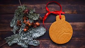 Christmas gingerbread and green spruce branches stock photo