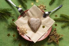 Christmas gingerbread heart on a plate stock image