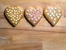 Christmas gingerbread heart-shaped cookies stock photography
