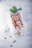 Christmas gingerbread with holiday decoration. On white background Royalty Free Stock Image