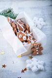 Christmas gingerbread with holiday decoration. On white background Stock Photos