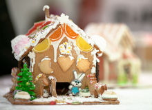 Christmas gingerbread home. Christmas sweets. Gingerbread home made from cookies and candies Royalty Free Stock Photography