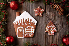 Christmas gingerbread home cookies fur tree and Royalty Free Stock Image