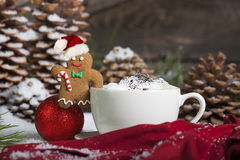 Christmas Gingerbread and Hot Drink Stock Images