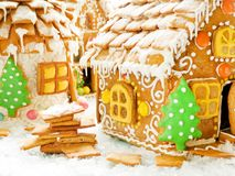 Christmas gingerbread house. On wood. Shallow dof royalty free stock photos