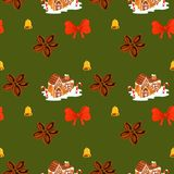 Christmas gingerbread house cinnamon, bow and bell pattern stock images