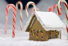 Christmas Gingerbread House Closeup Stock Photos