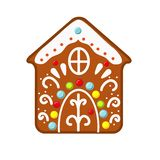 Christmas gingerbread house cookie. New year icon, clip art. Christmas gingerbread house cookie. New year icon, isolated clip art stock illustration