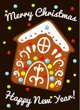 Christmas gingerbread house cookie. Seasonal greeting card design in vintage style for New year holidays.  royalty free illustration