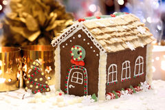 Christmas gingerbread house on the decorated table Royalty Free Stock Photography