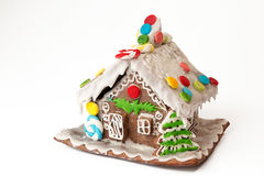Christmas gingerbread house isolated on white background. Royalty Free Stock Images