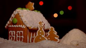 Christmas gingerbread house snowy coconut stock video