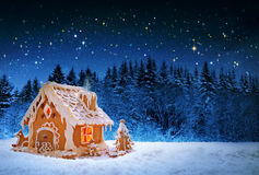 Christmas Gingerbread house and starry sky. Stock Photos