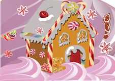 Christmas gingerbread house sugar drizzled with icing. Christmas sweet gingerbread house drizzled with the sugar glaze and located on the pink whipped cream Royalty Free Stock Photos