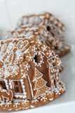 Christmas gingerbread houses in a bakery Royalty Free Stock Image