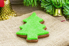 Christmas gingerbread on jute fabric Royalty Free Stock Photography