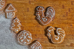 Christmas gingerbread males roosters royalty free stock photos