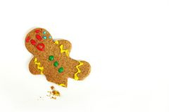 Christmas Gingerbread Man with Broken Leg Stock Photography