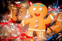 Christmas gingerbread man cheery. Photograph closeup Royalty Free Stock Photo